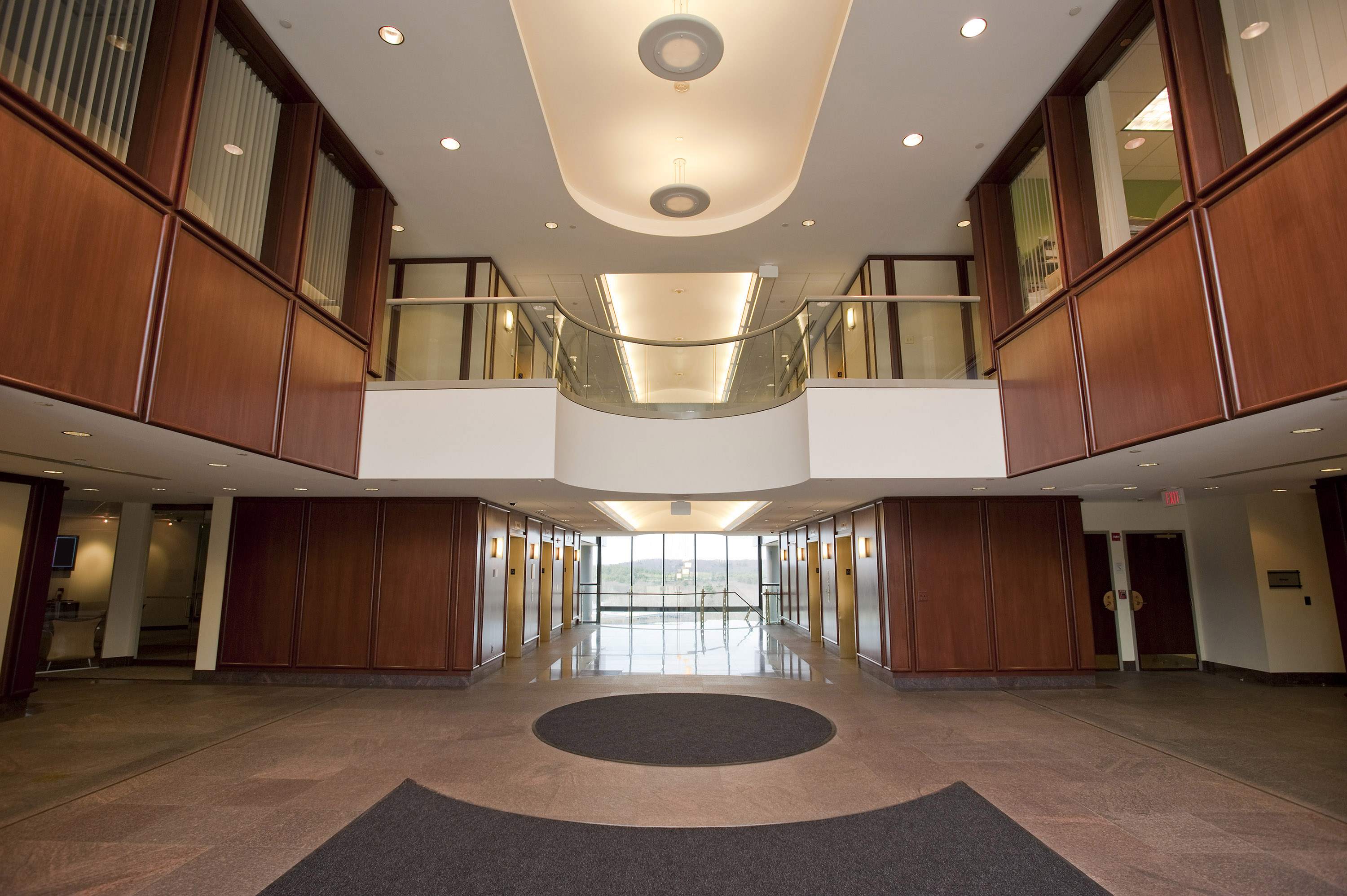 Caughlans Commercial Floor Covering - Mahogany Flooring in Modern Office Building